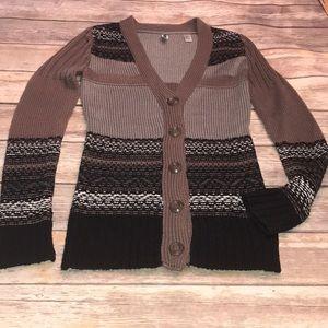 BKE (BUCKLE)~Chunky Knit Striped V-Neck Cardigan~M
